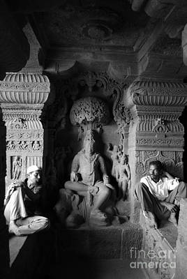 Men Sitting At Elora Caves India Poster
