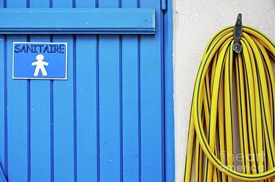 Men's Closed Bathroom Door And Hose Poster