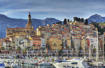 Menton City Skyline French Riviera Poster