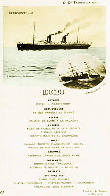 Menu From La Navarre Poster by Photo Researchers