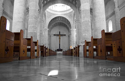 Poster featuring the photograph Merida Mexico Cathedral Interior Color Splash Black And White by Shawn O'Brien