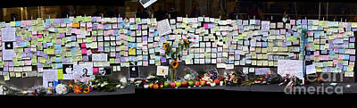 Messages To Steve Jobs . Rip . San Francisco Apple Store Memorial . Left Side . October 5 2011 Poster by Wingsdomain Art and Photography
