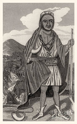 Metacomet Of Pokanoket, Wampanoag Chief Poster by Photo Researchers