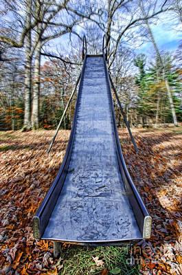 Metal Slide In Children's Playground Poster