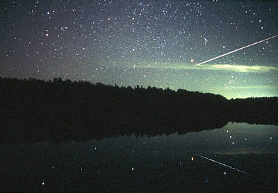 Meteor Over Lake Poster