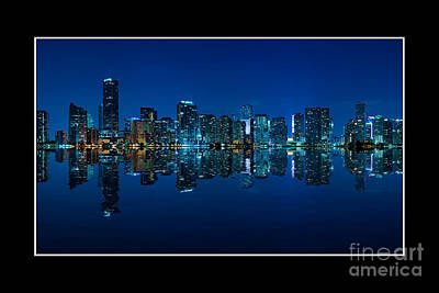 Poster featuring the photograph Miami Skyline Night Panorama by Carsten Reisinger