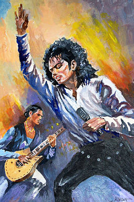 Poster featuring the painting Michael Jacksn In Concert by Al Brown