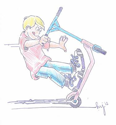 Micro Scooter Wheelie Cartoon Poster by Mike Jory