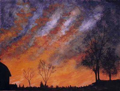 Poster featuring the painting Midwest Sunset by Stacy C Bottoms