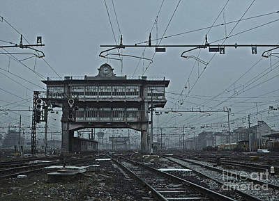 Poster featuring the photograph Milan Central Station Italy In The Fog by Andy Prendy