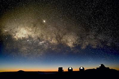 Milky Way And Observatories, Hawaii Poster by David Nunuk