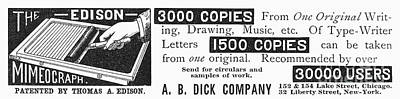 Mimeograph Ad, 1890 Poster by Granger