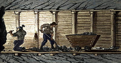Miners In A Timbered Tunnel Poster by Sheila Terry
