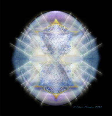 Poster featuring the digital art Mirror Emergence II Blue N Teal by Christopher Pringer