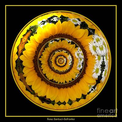 Mirrored Sunflower Under Glass Poster