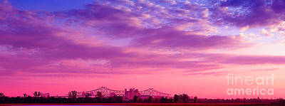 Mississippi River Bridge At Twilight Poster