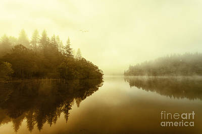 Mist Across The Water Loch Ard Poster by John Farnan