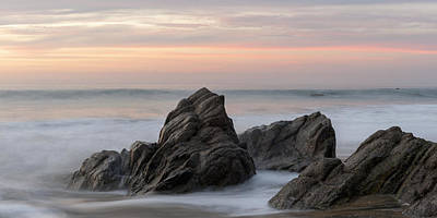 Mist Surrounding Rocks In The Ocean Poster by Keith Levit