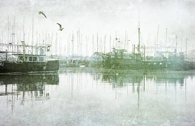 Misty Morning On The Boat Harbour Poster