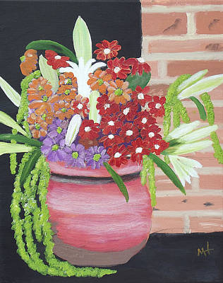 Poster featuring the painting Mixed Flowers In Orange Crock by Margaret Harmon