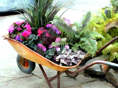 Mixed Garden Flowers And Ferns In A Wheelbarrow Poster