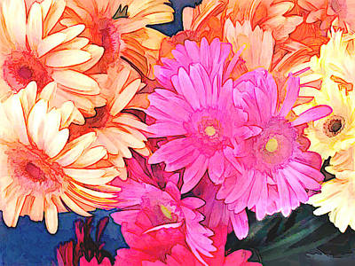 Mixed Pink And Yellow Gerber Daisies Poster by Elaine Plesser