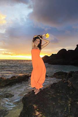 Model In Orange Dress Poster