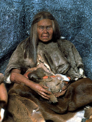 Model Of A Neanderthal Woman Holding A Baby Poster by Volker Stegernordstar - 4 Million Years Of Man