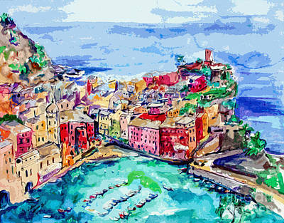 Modern Abstract Vernazza Italy Cinque Terre Poster
