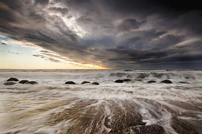 Moeraki Boulders At Dawn With Storm Poster