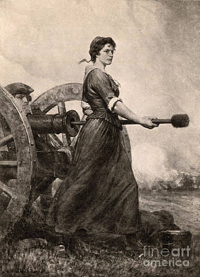Molly Pitcher At The Battle Poster by Photo Researchers