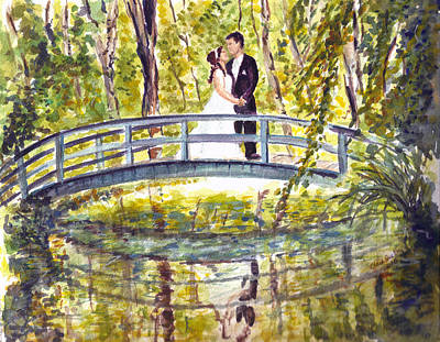 Poster featuring the painting Monet Wedding by Clara Sue Beym