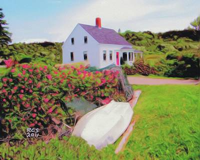 Poster featuring the digital art Monhegan Cottage by Richard Stevens