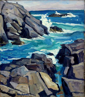Monhegan Surf Maine Seascape Poster