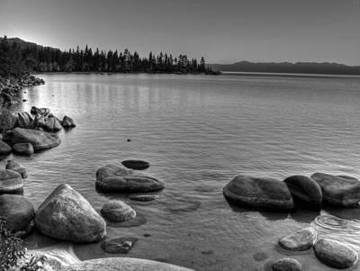 Monochrome Lake Tahoe Sunset Poster