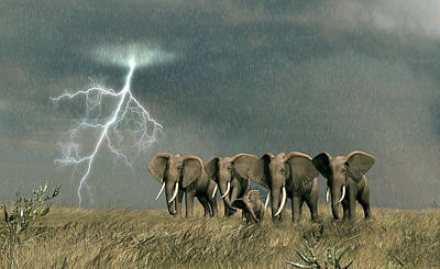 Monsoon On The Serengeti Poster by Walter Colvin