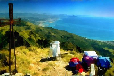 Poster featuring the mixed media Monte Rama E Panorama Su Genova by Enrico Pelos