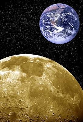 Moon And Earth, Artwork Poster