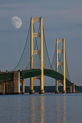 Moon And The Mackinaw Bridge By The Straits Of Mackinac Poster