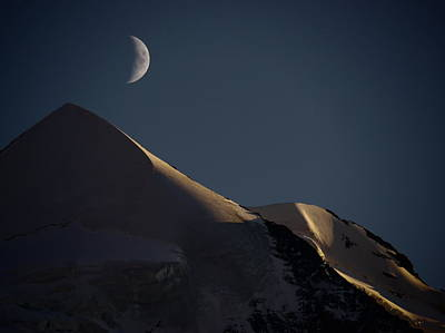 Moon At Night Over Mountain Silver Horn Poster by Rolfo