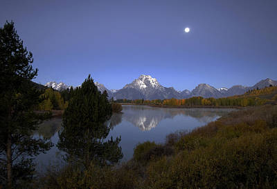 Moon Over Oxbow Bend The  Grand Tetons Poster