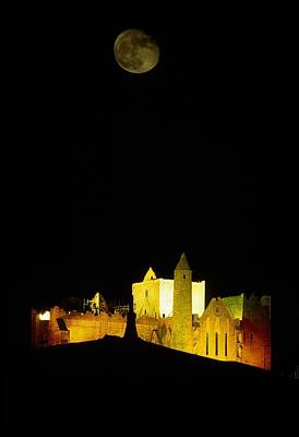 Moon Over Rock Of Cashel, Co Tipperary Poster by The Irish Image Collection