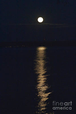 Moon Over Seneca Lake Poster