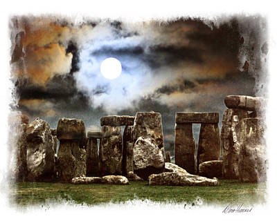 Moon Over Stonehenge Poster
