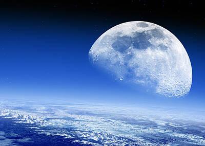Moon Rising Over Earth's Horizon Poster