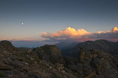 Moon Storm Sunset And Longs Peak Poster