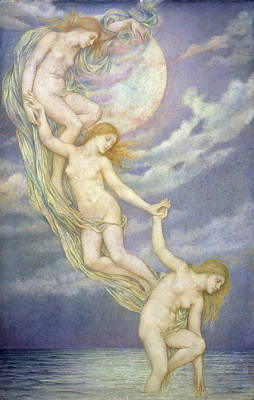 Moonbeams Dipping Into The Sea Poster by Evelyn De Morgan