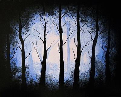 Poster featuring the painting Moonlight Forest by Edwin Alverio