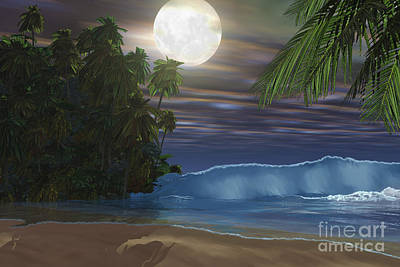 Moonlight Shines Down On The Beach Poster by Corey Ford