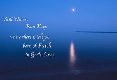 Moonrise On Lake Superior With Quote Poster